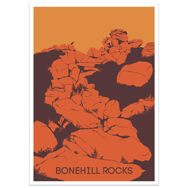 Bonehill Rocks print part of a collection of Dartmoor prints and posters by Devon artist Jon Stubbington
