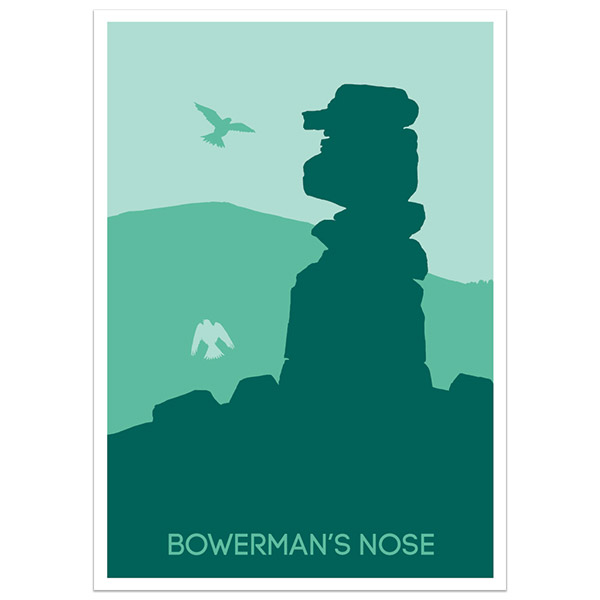 Bowerman's Nose print part of a collection of Dartmoor prints and posters by Devon artist Jon Stubbington