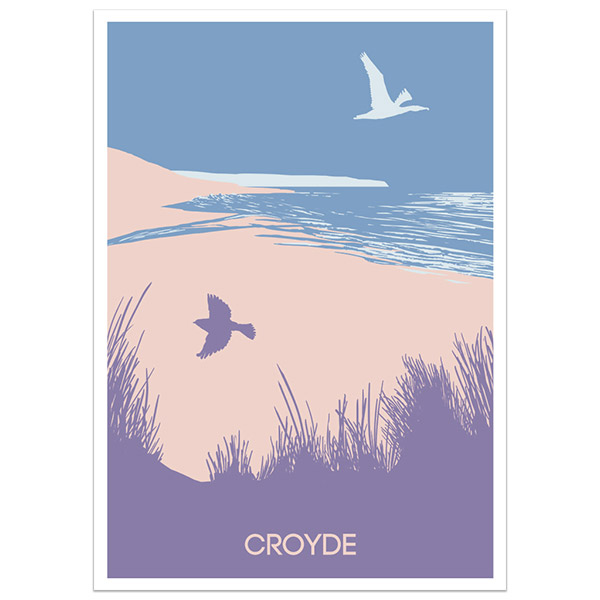Croyde print part of a collection of coastal prints and posters by Devon artist Jon Stubbington