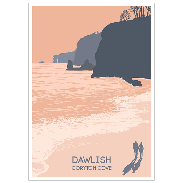Dawlish Coryton Cove print part of a collection of coastal prints and posters by Devon artist Jon Stubbington