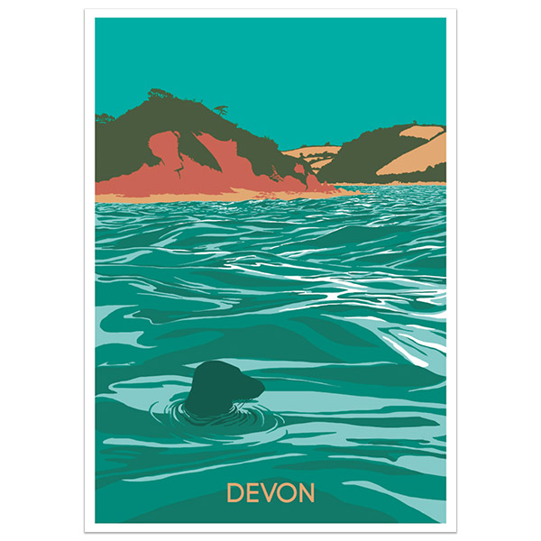 Devon Coast print part of a collection of coastal prints and posters by Devon artist Jon Stubbington