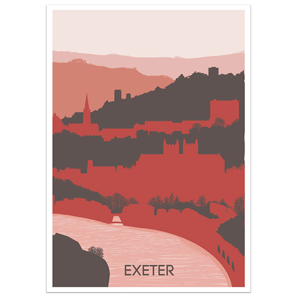 Exeter print part of a collection of Devon prints and posters by Devon artist Jon Stubbington