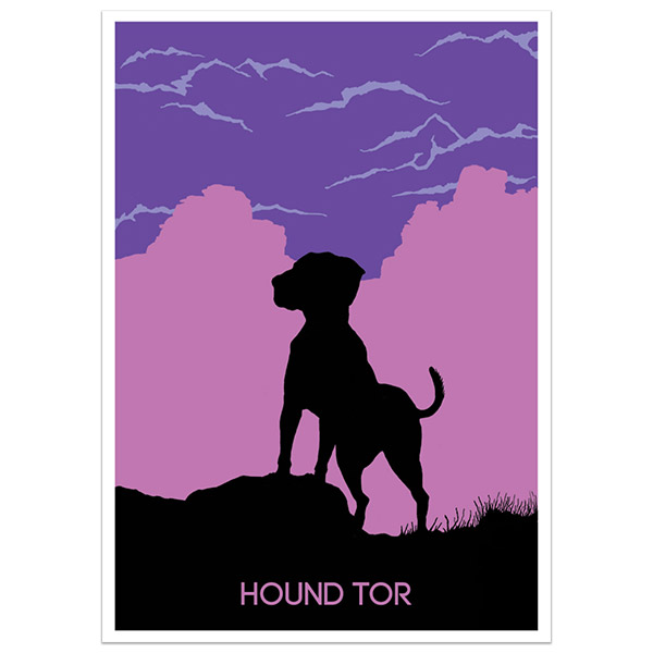 Hound Tor print part of a collection of Dartmoor prints and posters by Devon artist Jon Stubbington