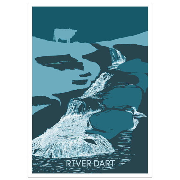 River Dart East Dart Waterfall print part of a collection of Dartmoor prints and posters by Devon artist Jon Stubbington