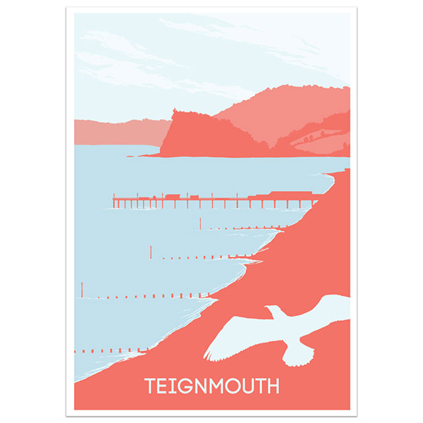 Teignmouth print part of a collection of coastal prints and posters by Devon artist Jon Stubbington