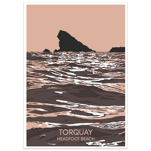 Torquay Meadfoot print part of a collection of coastal prints and posters by Devon artist Jon Stubbington