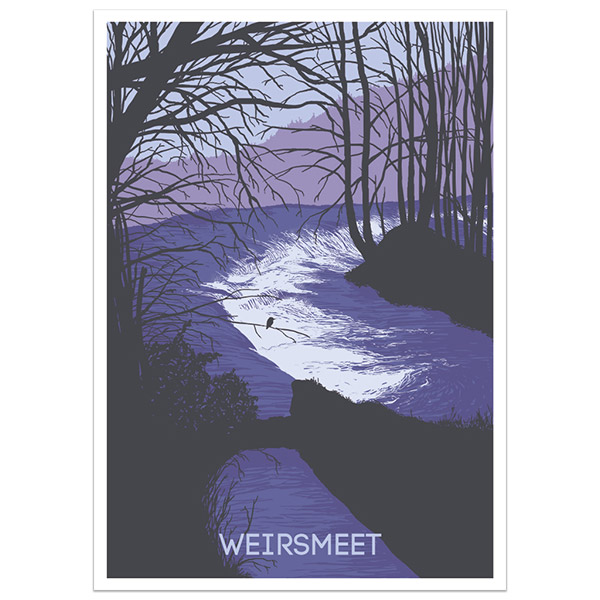 Weirsmeet print part of a collection of Dartmoor prints and posters by Devon artist Jon Stubbington