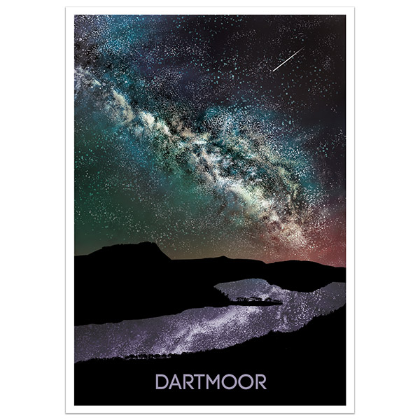 Dartmoor Dark Sky limited run print part of a collection of Dartmoor prints and posters by Devon artist Jon Stubbington