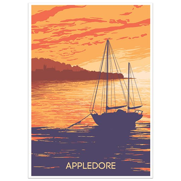 Appledore North Devon print part of a collection of coastal prints and posters by Devon artist Jon Stubbington