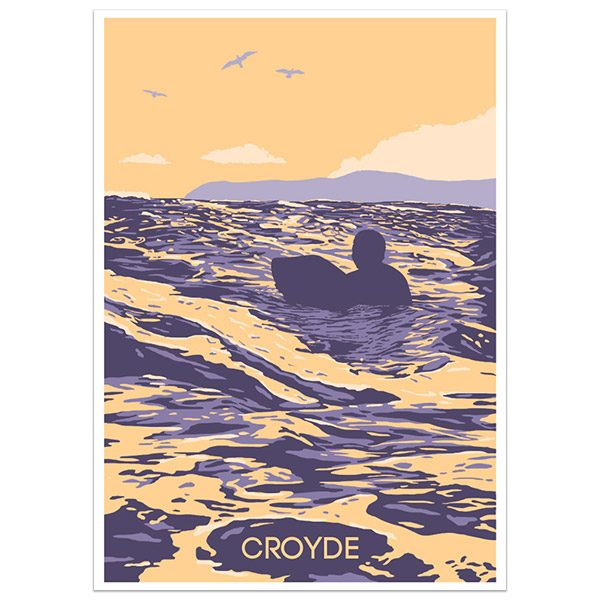 Croyde North Devon print part of a collection of coastal prints and posters by Devon artist Jon Stubbington
