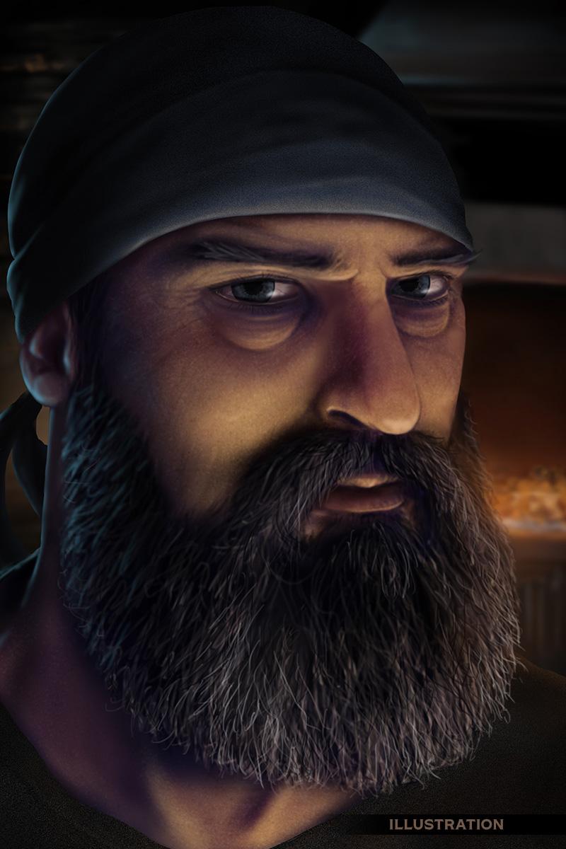 Character portrait bearded man