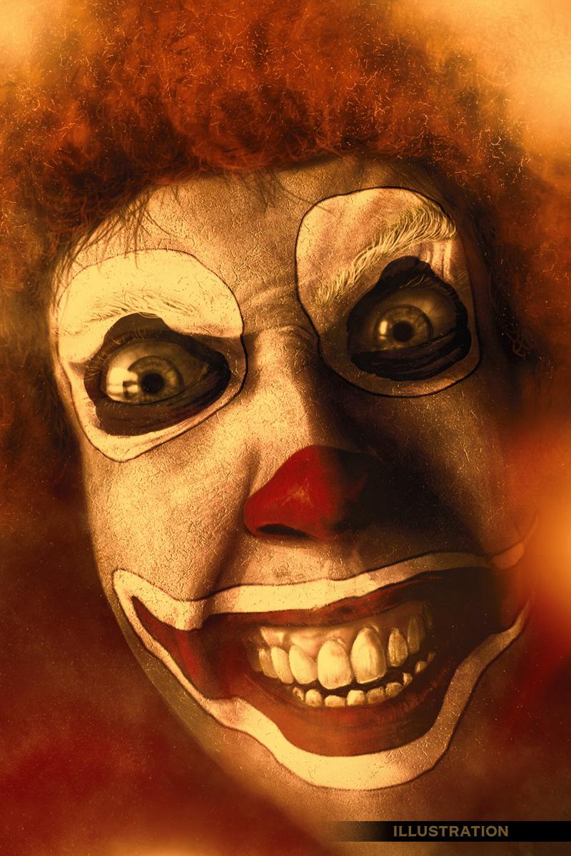 Clown horror illustration