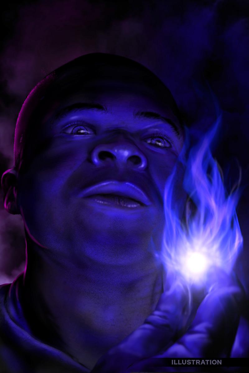 Fantasy illustration black male character mystical flame