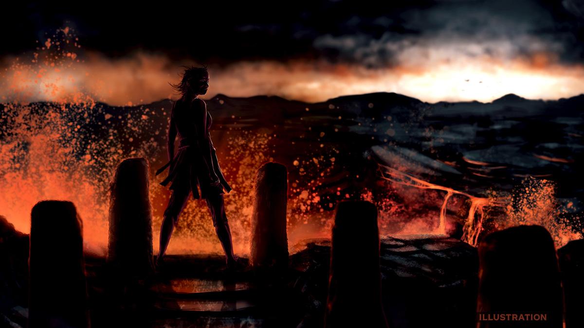 Fantasy lava scene illustration