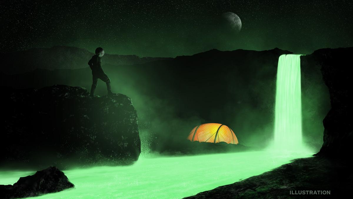 Waterfall science fiction illustration