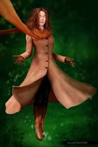 Character illustration woman in forest magical fantasy