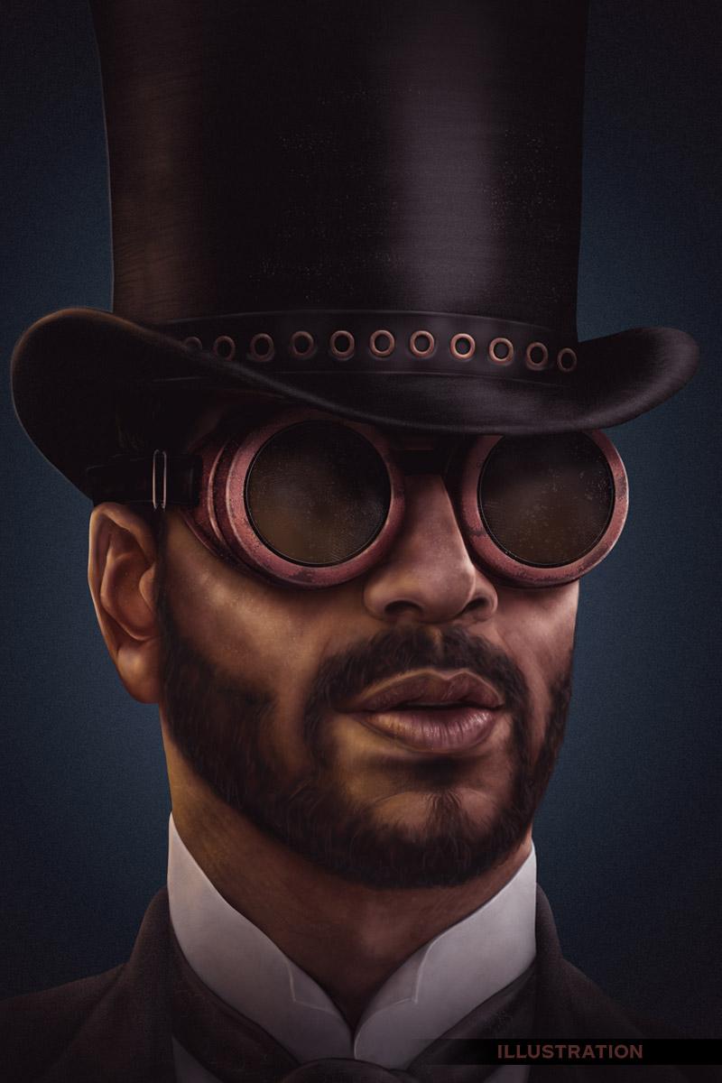 Steampunk victorian gentleman top hat goggles character illustration