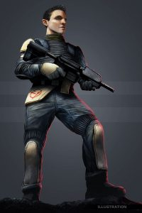 Sci fi science fiction soldier illustration