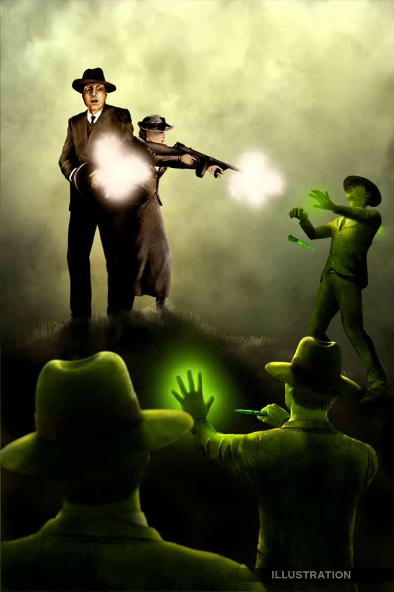 Horror illustration men of yuul phantom canyon tales