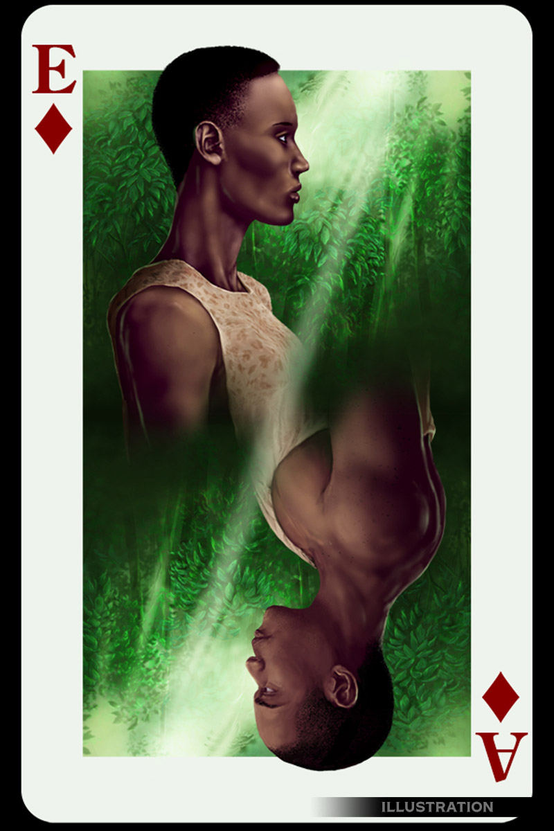 Adam and Eve playing card illustration
