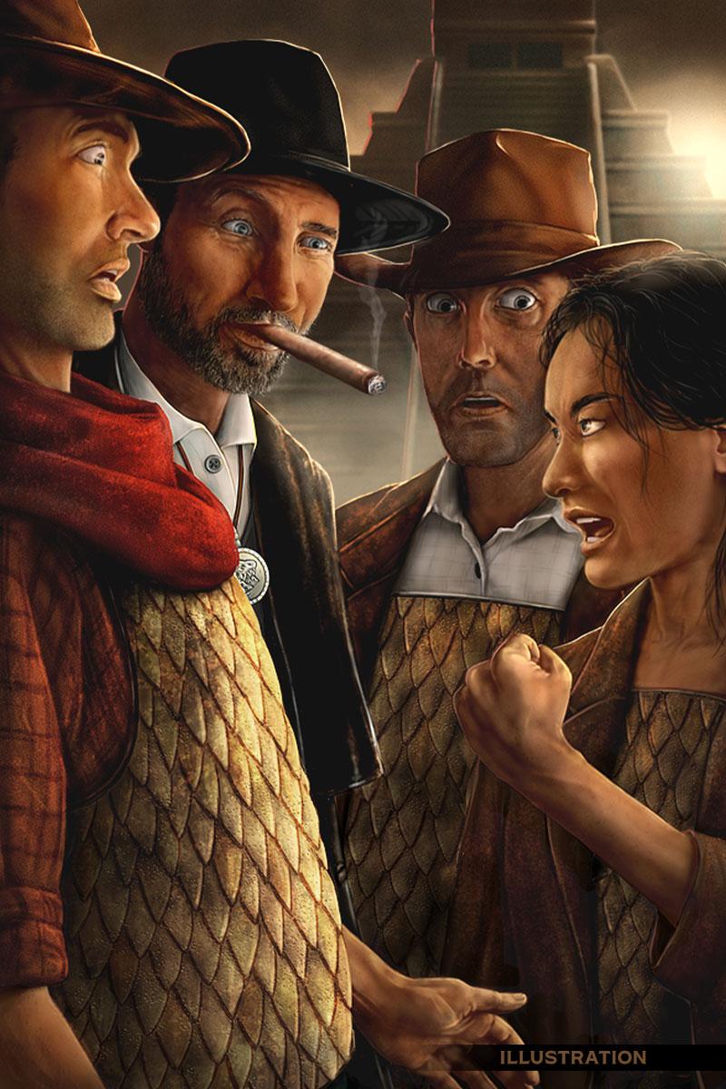 Cowboy futuristic illustration group scene